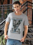 Camiseta com Decote em V Cinza