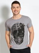 Camiseta com Estampa de Caveira Mescla