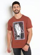 Camiseta Marrom Com Estampa Tigre e Neon