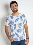 Camiseta com Estampa Tropical Branca