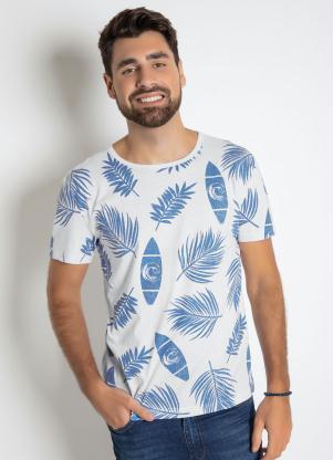 Camiseta com Estampa Tropical (Branca)