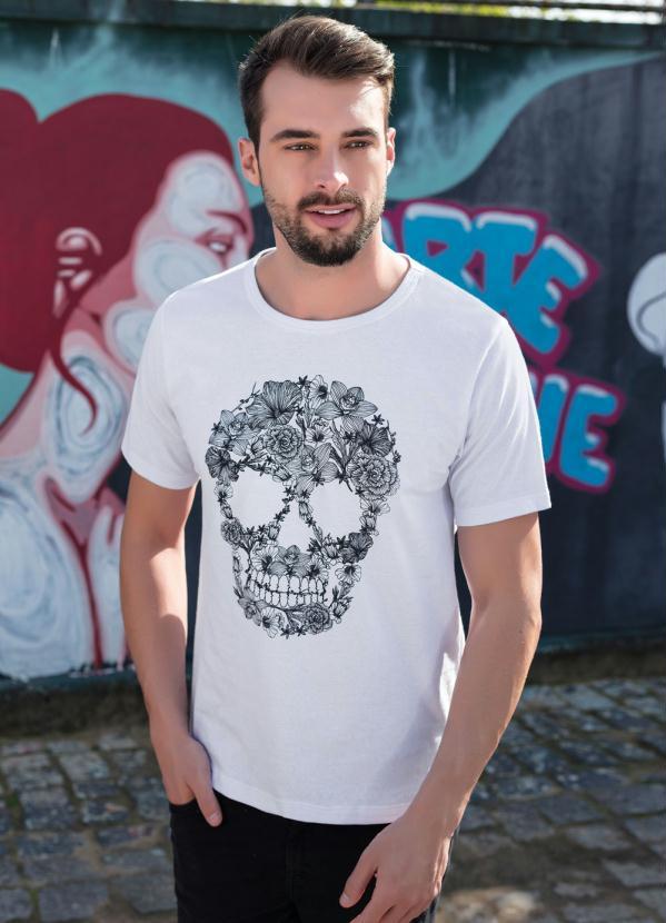 Camiseta Estampa Caveira Mexicana (Branca)