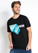Camiseta Estampa em Gel Actual Preta