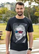 Camiseta Estampa Óculos 3d Preto
