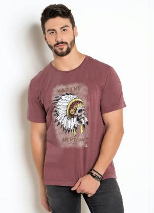 Camiseta (Vermelho) Estonada com Estampa Indio