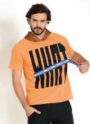 Camiseta Laranja com Capuz e Cadarço na Estampa