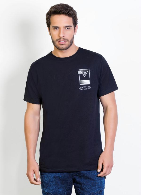Camiseta (Preta) Longline com Estampa Costas