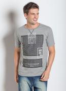 Camiseta Manga Curta e Estampa Frontal Mescla