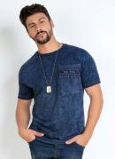 Camiseta Marinho com Efeito de Lavanderia