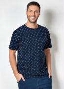 Camiseta Marinho com Estampa de Âncoras
