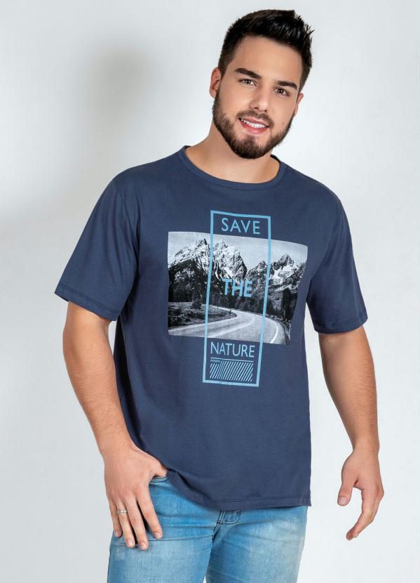 Camiseta (Marinho) com Estampa Frontal