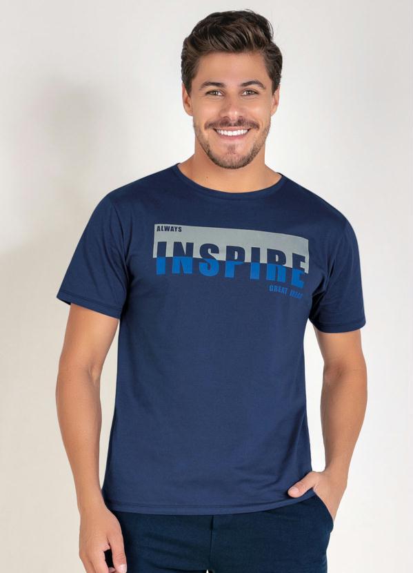 Camiseta (Marinho) com Estampa na Frente
