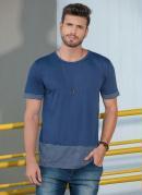 Camiseta Marinho com Listras e Recortes