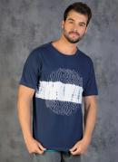 Camiseta Marinho com Tie Dye e Estampa