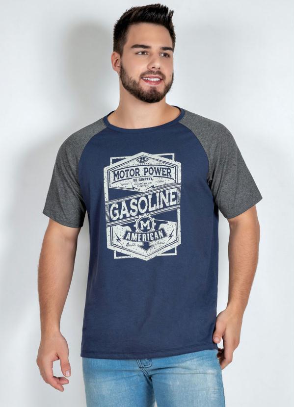 Camiseta (Marinho e Mescla) com Estampa Frontal