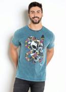 Camiseta Marmorizada com Estampa de Caveira