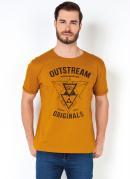 Camiseta Masculina Estampa Triangulos Mostarda