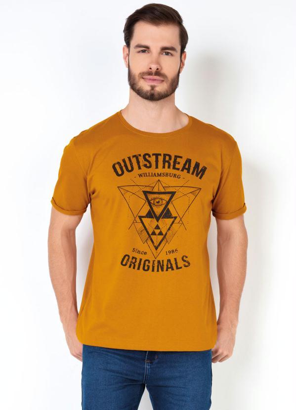 Camiseta Masculina Estampa Triangulos (Mostarda)