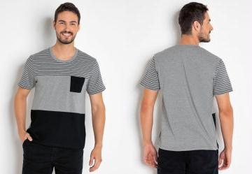 Camiseta Masculina Mescla com Bolso e Recortes