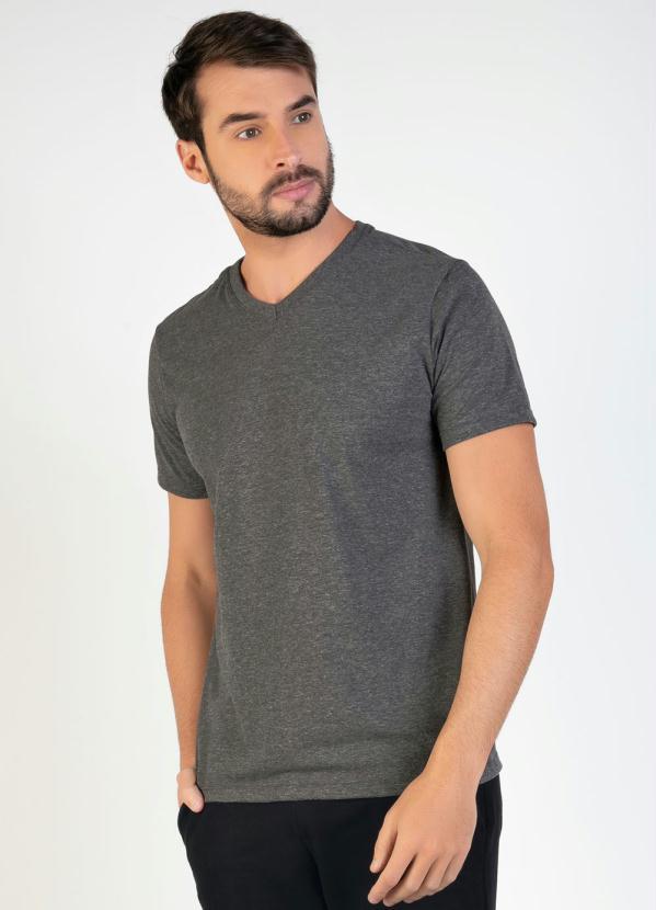 Camiseta Masculina (Mescla) com Decote V