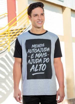 Camiseta Masculina (Mescla) com Estampa Lettering