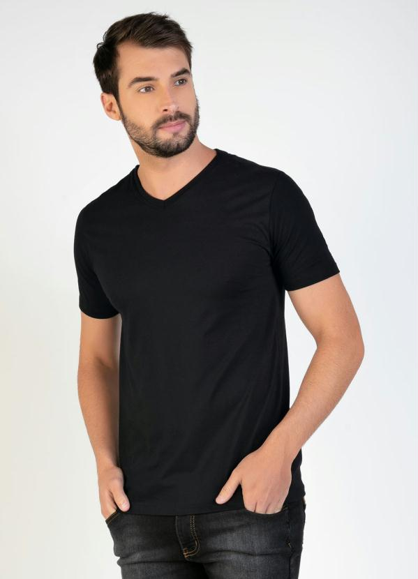 Camiseta Masculina (Preta) com Decote V