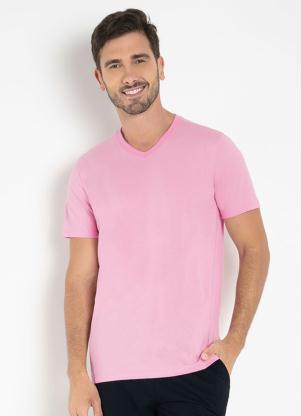 Camiseta Masculina (Rosa) com Mangas Curtas