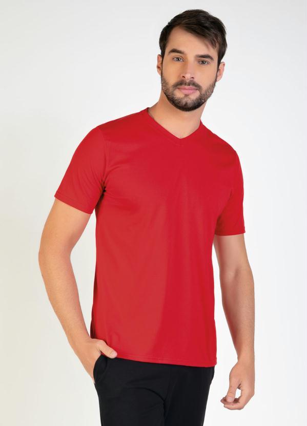 Camiseta Masculina (Vermelha) com Decote V