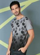 Camiseta Mescla com Estampa de Folhagem