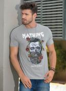 Camiseta Mescla com Estampa Frontal