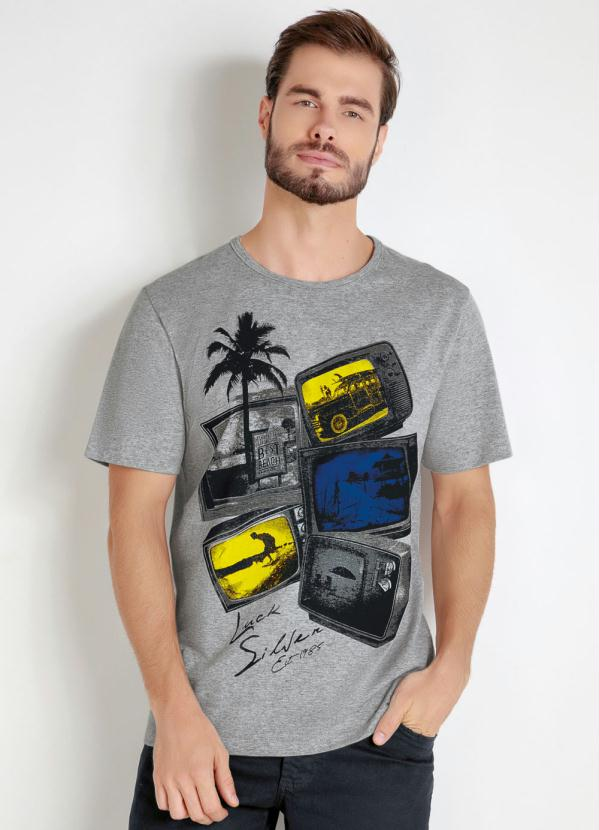 Camiseta (Mescla) com Estampa Frontal