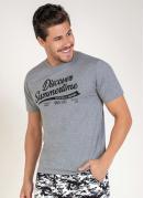 Camiseta Mescla com Estampa na Frente