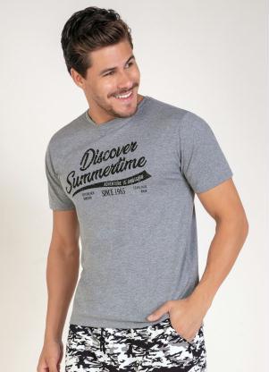 Camiseta (Mescla) com Estampa na Frente