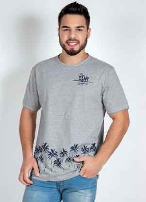 Camiseta (Mescla) com Estampa no Peito e na Barra