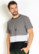 Camiseta Mescla com Recortes e Bordado