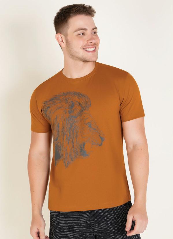 Camiseta (Mostarda) com Estampa de Leão