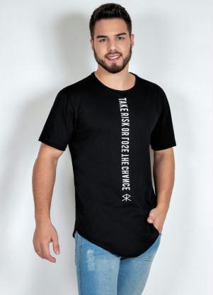 Camiseta (Preta) com Corte a Fio