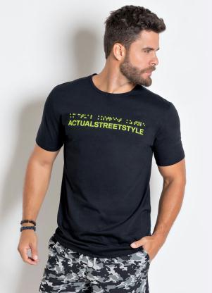 Camiseta (Preta) com Estampa em Braile