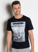Camiseta Preta com Estampa Cactus