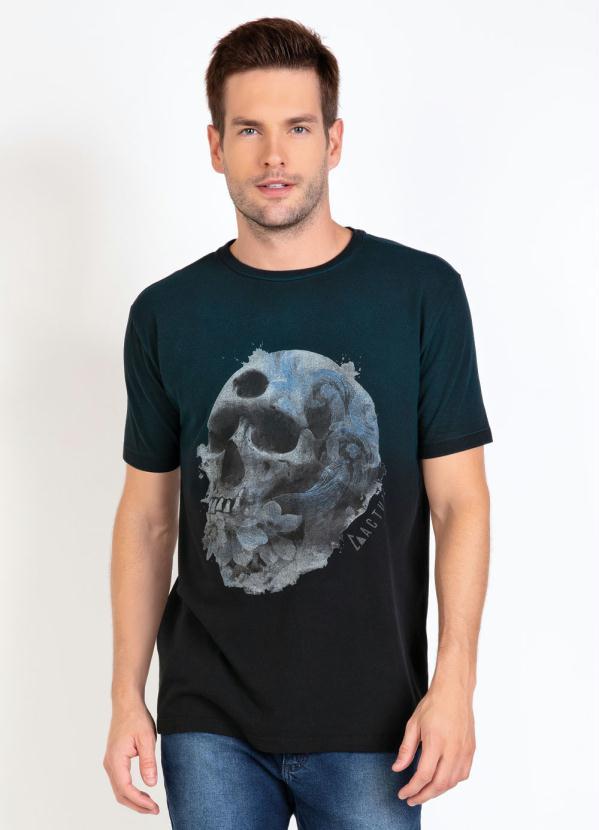 Camiseta (Preta) com Estampa de Caveira e Degradê
