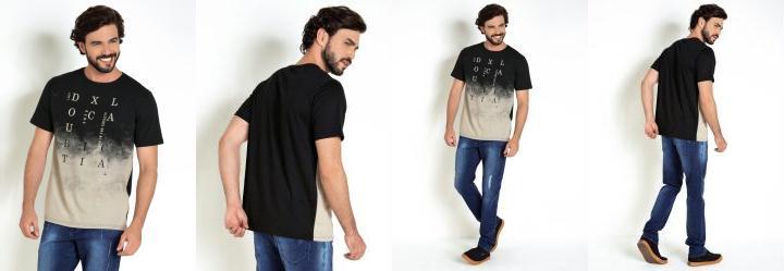 Camiseta Preta com Estampa em Degradê Frontal