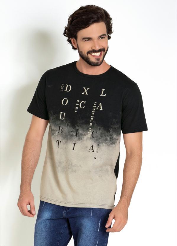Camiseta (Preta) com Estampa em Degradê Frontal