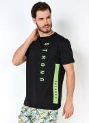 CAMISETA (PRETA) COM ESTAMPA NEON STRONG FOCUSED