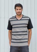 Camiseta Preta com Listras Frontais e Decote V