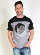 Camiseta Preta com Recorte e Estampa na Frente
