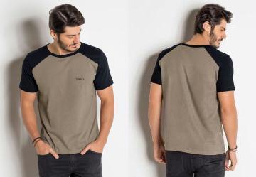 Camiseta Preta e Marrom com Cava Raglan