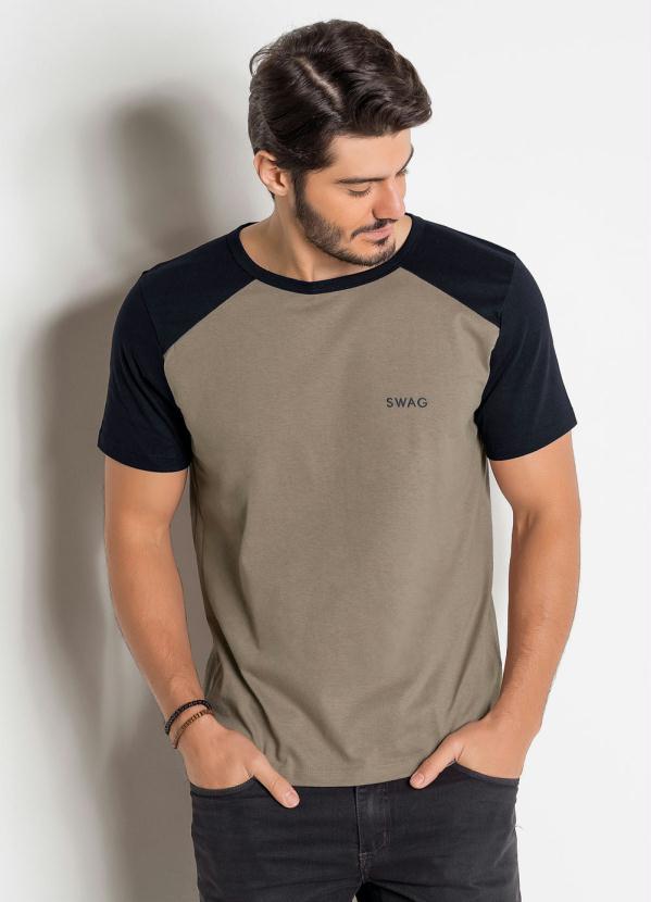 Camiseta (Preta e Marrom) com Cava Raglan