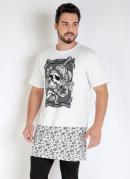 Camiseta Preta Long Line com Estampas