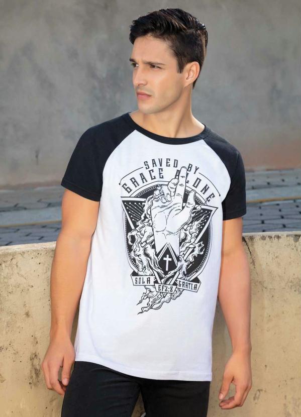 Camiseta Raglan Masculina (Preta e Branca)