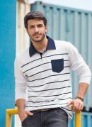 Camisa Manga Longa Branca com Listras e Bolso